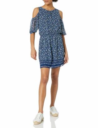 Max Studio Women's Printed Georgette Cold Shoulder Dress