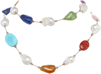 Margo Morrison Large Multi-Stone and Baroque Pearl Necklace with Swarovski Crystal and Sterling Silver Toggle