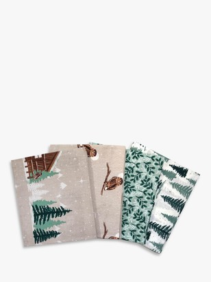 Visage Textiles Snowy Wood Printed Fat Quarter Fabrics, Pack of 4, Multi