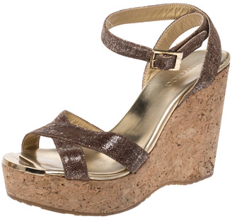 Jimmy Choo Gold/Brown Shimmer Lame Fabric Papyrus Cork Wedge Ankle Strap Sandals Size 37.5