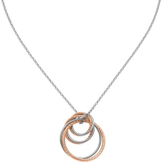 "Italian Silver Two-Tone Interlocking Ring Pendant w/18"" Chain"