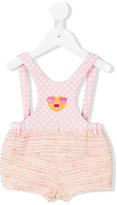 I Pinco Pallino - patchwork overall shorts - kids - Cotton/Polyester/Polyamide/Acrylic - 6 mth