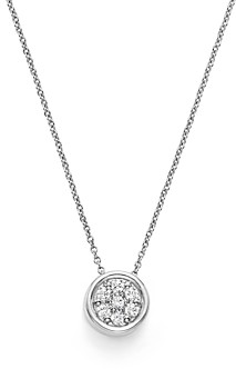 Bloomingdale's Diamond Bezel Set Cluster Small Pendant Necklace in 14K White Gold, .10 ct. t.w. - 100% Exclusive