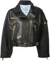 Natasha Zinko oversized cropped biker jacket - women - Leather - 36