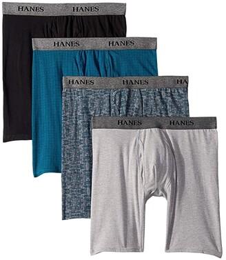 Hanes 4-Pack Stretch Long Leg Boxer Briefs (Assorted Black/Blue) Men's Underwear