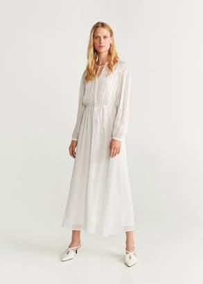 MANGO Metallic thread chiffon dress ecru - 4 - Women