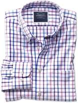 Charles Tyrwhitt Extra Slim Fit Button-Down Non-Iron Poplin Lilac Multi Check Cotton Casual Shirt Single Cuff Size Large