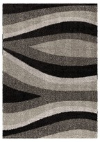 Orian Trailed Swirls Black/Gray Rug