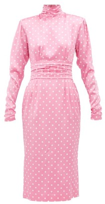 Alessandra Rich Polka-dot Silk Midi Dress - Womens - Pink White