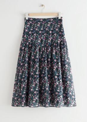And other stories Printed Chiffon Midi Skirt