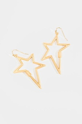 francesca's Liliana Turnlock Star Drop Earrings - Gold