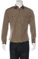 Gucci Lambskin Leather-Trimmed Shirt w/ Tags