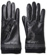 Fownes Leather Knit Trim Gloves