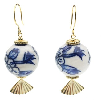 Farra Blue & White Floral Print Ceramic Ball Earrings