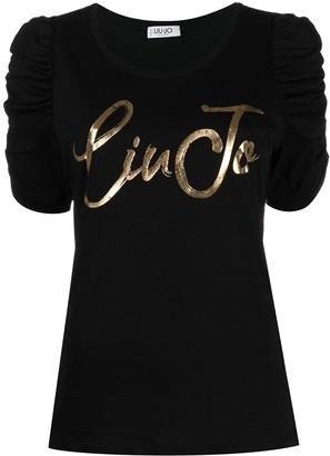 Liu Jo logo-print puff-sleeves T-shirt