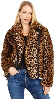 Levi's Allover Sherpa Asymmetrical Motorcycle Jacket (Leopard) Women's Clothing