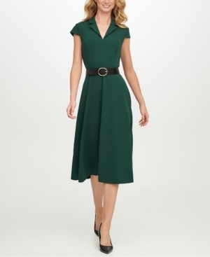 Calvin Klein Belted Scuba-Crepe Fit & Flare Midi Dress