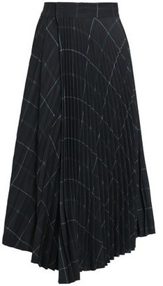 Vince Wrap-effect Pleated Checked Crepe Midi Skirt