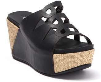 Antelope Leather Slit Cork Wedge Sandal