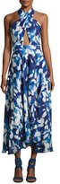 Milly Silk Chiffon Petal Midi Dress, Blue