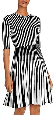 nanette Nanette Lepore Striped Fit and Flare Knit Dress