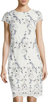 Donna Ricco Cap-Sleeve Embroidered-Mesh Dress