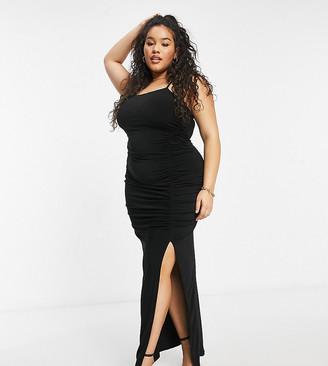 Club L London Plus Club L maxi dress with slit in black