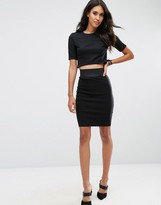 Asos High Waisted Pencil Skirt With Elastic Detail