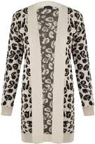 Outofgas Womens Ladies Skull Star Leopard Cross Print One Size Knitwear Open Cardigan Top - - (Machine Washable)