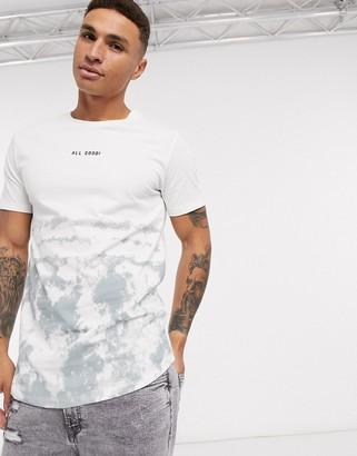 Jack and Jones Originals longline slogan t-shirt in white