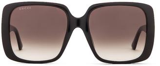 Gucci Logo Square Sunglasses in Shiny Black & Grey Gradient | FWRD