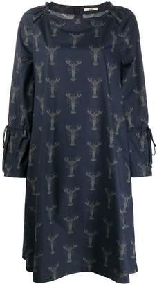 Odeeh crab-print wide-sleeves dress