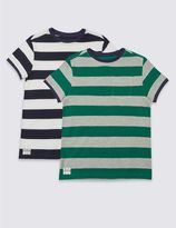 Marks and Spencer 2 Pack Striped T-Shirts (3-14 Years)