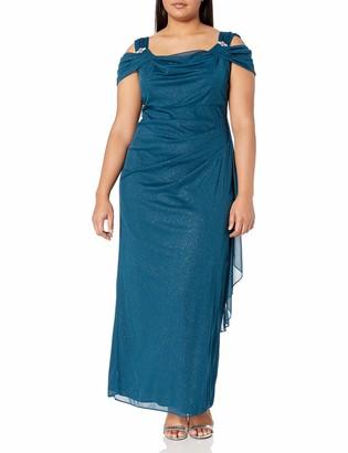R & M Richards R&M Richards Women's Plus Size Off The Shoulder Glitter Gown