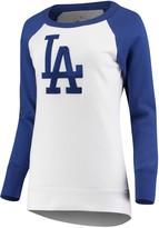 G Iii Women's G-III 4Her by Carl Banks White Los Angeles Dodgers Top Ranking Tunic Raglan Crew Sweatshirt