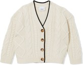 Burberry Logo Panel Cable Knit Wool Cashmere Cardigan