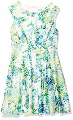 Sandra Darren Women's 1 Pc Extended Shoulder Drop Waist Printed Lace Dress