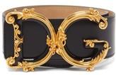 Dolce & Gabbana Baroque Monogram Buckle Wide Leather Belt - Womens - Black Gold