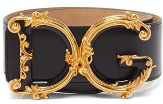 Dolce & Gabbana Baroque Monogram Buckle Wide Leather Belt - Black Gold