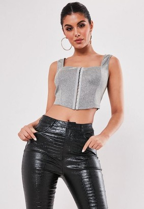 Missguided Petite Silver Sparkle Corset Top