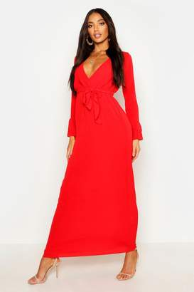 boohoo Woven Wrap Ruffle Sleeve Maxi Dress