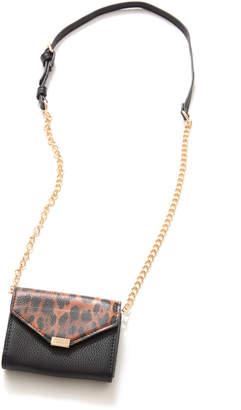 Urban Expressions Mini Leopard Flap Envelope Crossbody Bag Black 1 Size