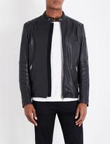 BOSS ORANGE Biker-panelled leather jacket