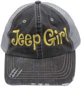 Sun Jeep Girl Embroidered Distressed Trucker Style Cap Hat Rocks any Outfit Yellow