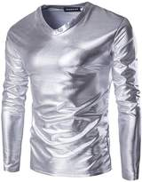 jeansian Men's V-Neck Long Sleeves Bronzing Fabric T-Shirt Tee D719 L