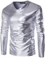 jeansian Men's V-Neck Long Sleeves Bronzing Fabric T-Shirt Tee D719 M