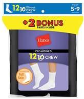 Hanes Women`s 12-Pack Cushion Crew Socks