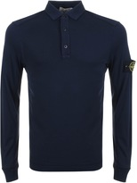 Stone Island Long Sleeved Polo T Shirt Navy