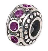 Zable Sterling Silver Crystal February Birthstone Bead Charm BZ-1051
