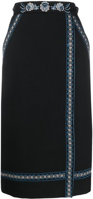 Vilshenko Embroidered Wrap-Front Skirt